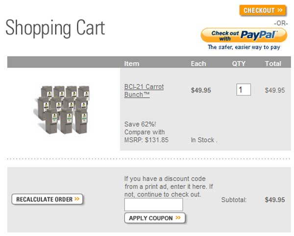 Demonstrates how to enter a coupon code on the Carrot Ink website checkout.