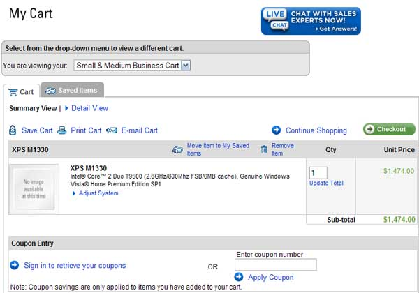 Demonstrates how to enter a coupon code on the Dell Small Business website checkout.